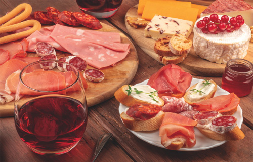 Different kinds of savoury meat platters
